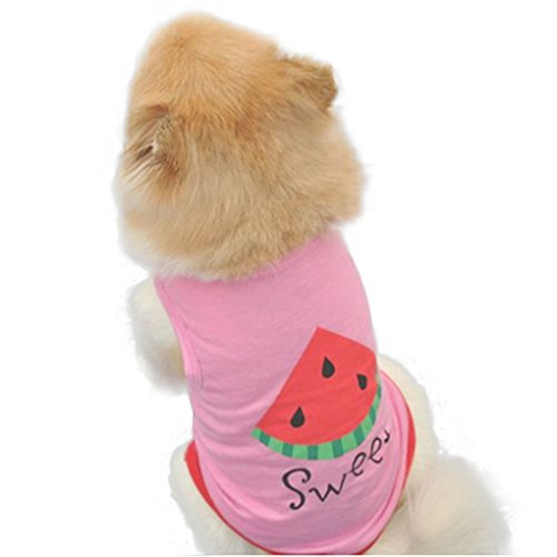 Picture of haoricu Dog Vest, Summer Watermelon Printed Pet Clothing Pet Costume Small Pet Dog Puppy Cat Clothes Apparel T shirt Vest (L, Pink)