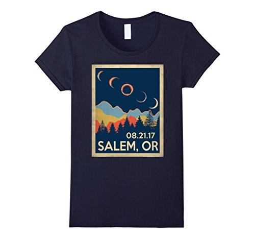 Womens Salem Oregon Solar Eclipse 2017 Tshirt Medium Navy