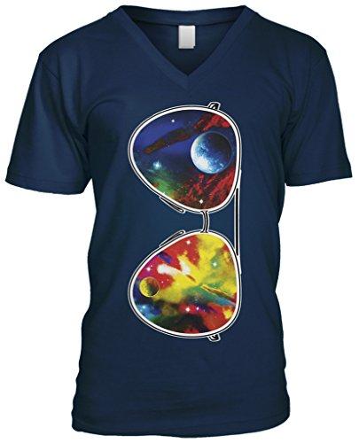 Blittzen Mens V-neck T-shirt Galaxy Sunglasses, L, Navy - Sunglasses V L