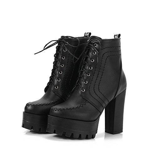 Womens Black Urethane Solid Boots Fashion BalaMasa Platform SWAwq78Rq