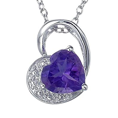 Sterling Silver Amethyst Heart Pendant 1 CT With 18 Inch Chain