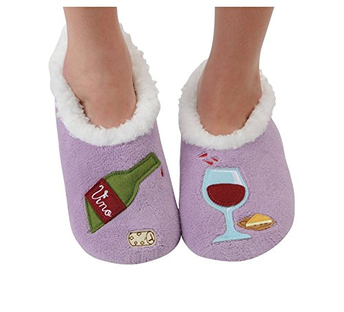 Snoozies Womens Classic Splitz Applique Slipper Socks - Wine O' Clock, Large