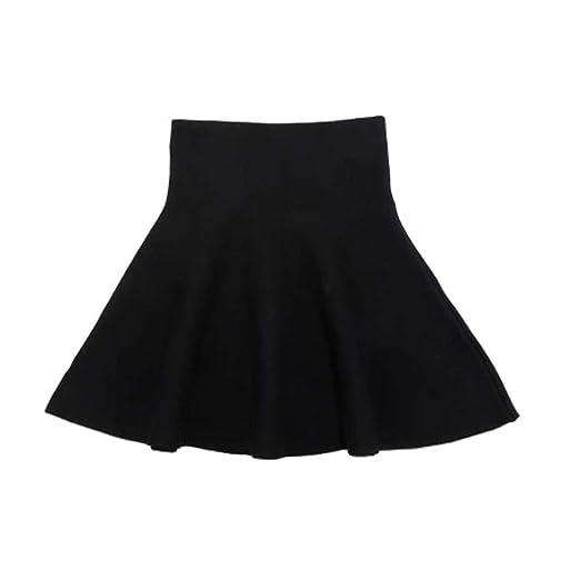 Gooket Girls High Waist Knitted Flared Pleated Skater Skirt Casual Mini Skirt  Black Tag 110 ( dd8a3b803