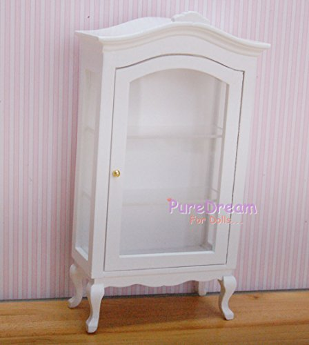 1:12 Dollhouse Miniature Furniture Display White Cabinet Showcase Shelf Wood - Pepper White Dresser