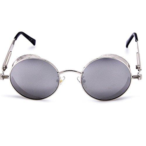 amp; de Plateado para Espejo reflectante redondo sol pequeño polarizadas efecto gafas y lente mujeres las hombres amztm Twa6q8W