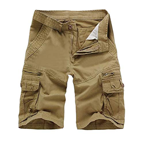 - POHOK Men Shorts Multi-Pocket Summer Fashion Mid-Rise Men's Shorts Loose Casual Tooling Pants (32,Khaki)