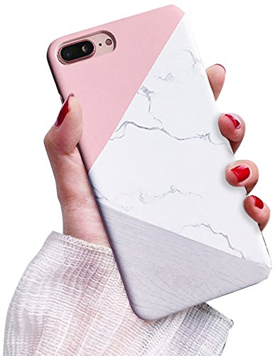 hot sales 38b3e 50b6c J.west iPhone 8 Plus Case, iPhone 7 Plus Case, Marble Design Pink Geometric  Anti-Scratch &Fingerprint Shock Proof Thin Non Slip Matte Back Hard ...