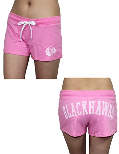 Womens CHICAGO BLACKHAWKS Casual Yoga / Sports Shorts(Vintage Look) XL Pink