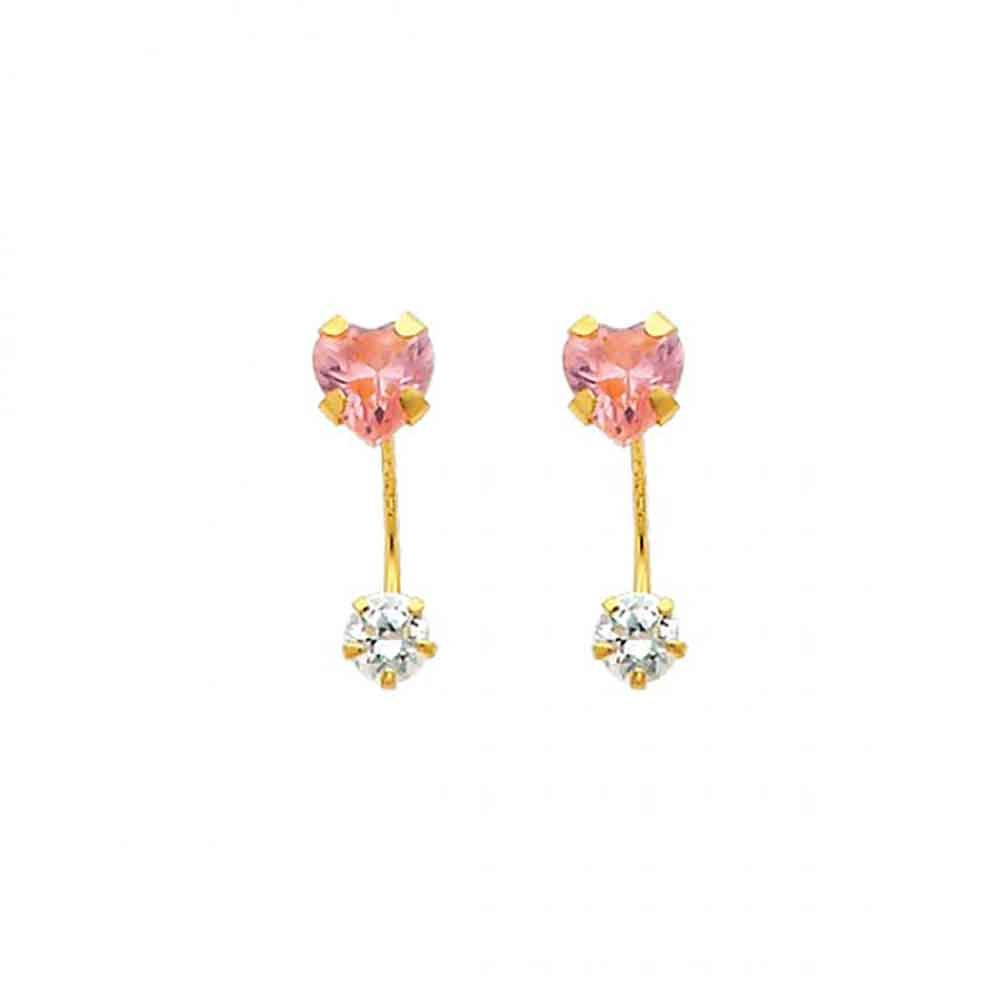 Womens 14k Yellow Gold 5mm Wide Heart Pink CZ Curved Earrings 0.66 in x 0.19 in