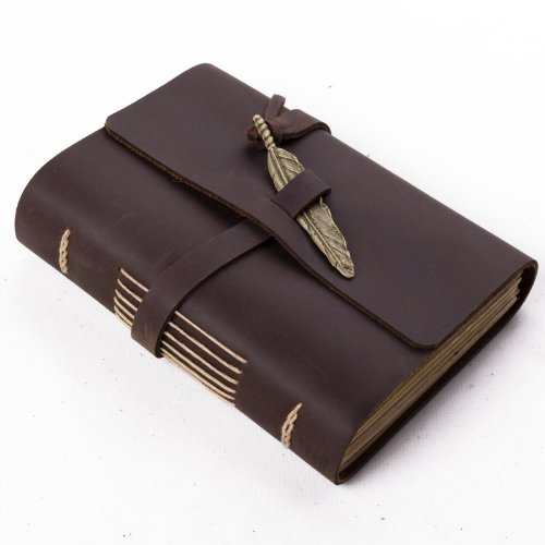 Ancicraft Unique Leather Journal with Feather Handmade A6 Blank Craft Paper Brown with Gift Box (Dark Brown & A6(4.13x5.8inch) Lined Craft Paper)