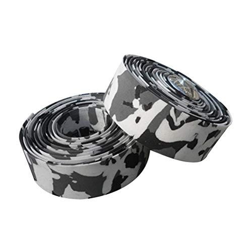 VORCOOL 1 Par EVA Bicycle Handlebar Tape Bike Bar Wrap (Blanco y Negro)
