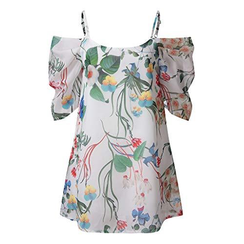 Sunhusing Ladies Boho Beach Print Chiffon Adjustable Strap Short Sleeve Mini Short Dress Cocktail Party Dress White