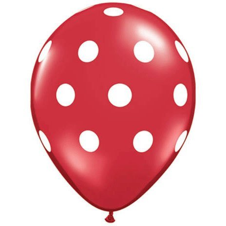 Red Polka Dot Balloons (10 Pack) - 12 Inch Inflatable Latex Balloons, Red Birthday or Christmas Party Decorations, Polka Dot Red Holiday Wedding Supplies