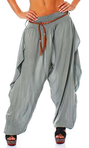 malito Bombacho Boyfriend Cinturón Aladin Harem Pantalón Sudadera Baggy Yoga 1584 Mujer Talla Única oliva