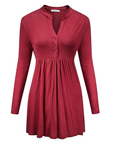 - Women Tunic Asymmetrical,NOOBLEMOON Women's Long Sleeve Mandarin Collar Shirt Pleated Button Flare Hem Tunic Tops,l Size red