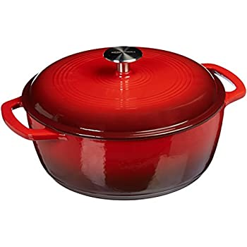 AmazonBasics Enameled Cast Iron Covered Dutch Oven, 4.3-Quart, Red