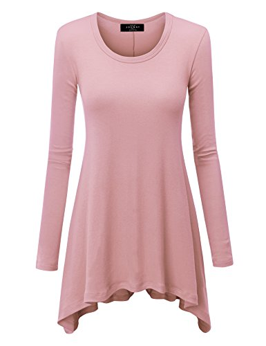 WT953 Womens Round Neck Long Sleeve Rib Trapeze Tunic Top M Pink