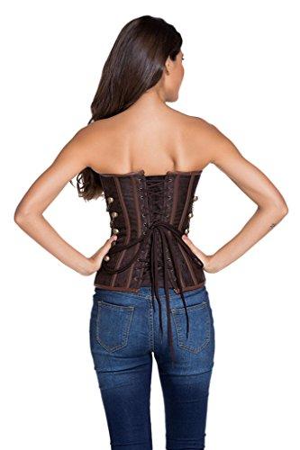 Saphira moda. Corsé. bustier. marrón. Estilo steampunk. Chainlets. string incluido Marron - Brown