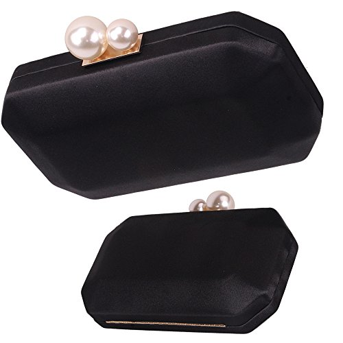 Clutch Pearls Bag for Party Women Handbags Hardcase Purse Closure Evening with Satin Black Crossbody qHw5SRywpx