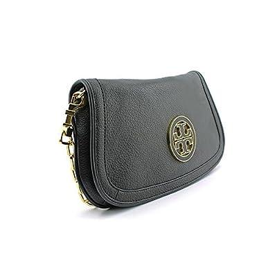 Tory Burch Womens Black Amanda Logo Leather Clutch BAG