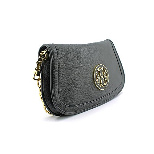 Tory Burch Womens Black Amanda Logo Leather Clutch BAG Amanda Bag
