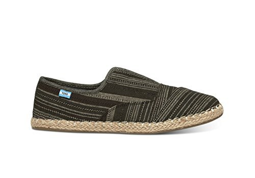 Black Metallic Stripe (TOMS Women's Palmera Slip-On Black Metallic Stripe Loafer 7.5 B (M))