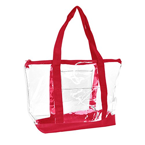 DALIX Clear Shopping Bag Security Work Tote Shoulder Bag Womens Handbag in - 20 Tote Handbag Zippered
