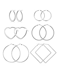 Milacolato 6Pairs Stainless Steel Geometric Hoop Earrings for Women Girls Lightweight Thin Square Heart Earring Set