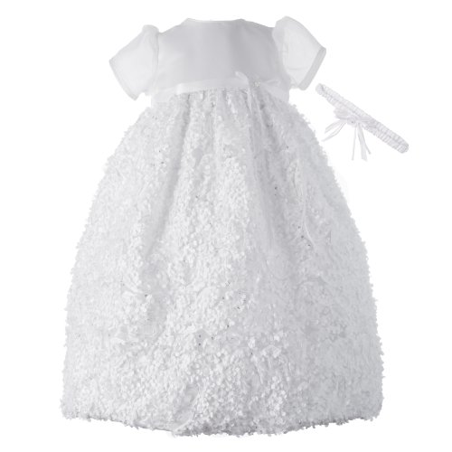 Lauren Madison baby girl Christening Baptism Newborn Floral Design Long Gown, White, 6-9 Months