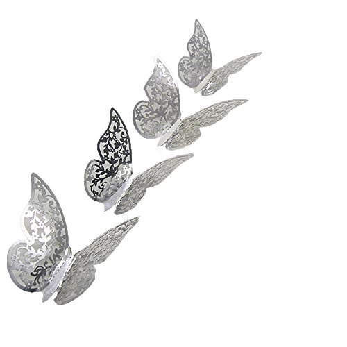 Light Glass Childrens Pendant (FimKaul 12Pcs Removable 3D Butterfly Wall Stickers Decals DIY Mural for Kids Girls Children Bedroom Living Room Background Nursery (Silver))