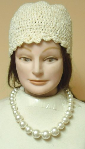 Adam Banks Costume (Ivory Pearl Necklace Offered with Hand Crocheted Ivory Chenille Skull Cap)