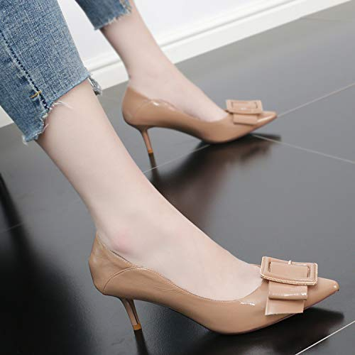 Temperament Tie Shoes 7Cm color Bow Apricot Thin Sharp Women'S Single Fashionable Mouth Pointed And Heel High Shoes Summer Shoes KPHY Sexy 6dRwOUx6q