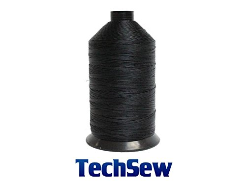 BLACK TechSew Premium Bonded Nylon Sewing Thread #207 T210 8oz Spool 1000 yards for Leather Goods, Purses, Bags, Wallets, Shoes