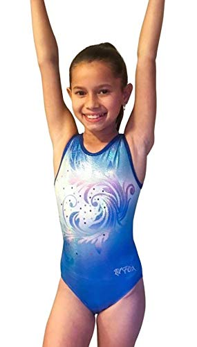 Look-It Activewear Sparkling Turquoise Wave Leotard for Womens Gymnastics or Dance Adult Medium