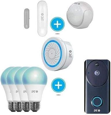 SPC 6911K-2 Kit de seguridad compuesto por: Sensor Aperio + Sensor de movimiento Kinese + Alarma Sonus + Videotiembre Visum + 4 bombillas Sirius 1050 - Smart Home compatible con Amazon Alexa: Spc-Internet: Amazon.es: Electrónica