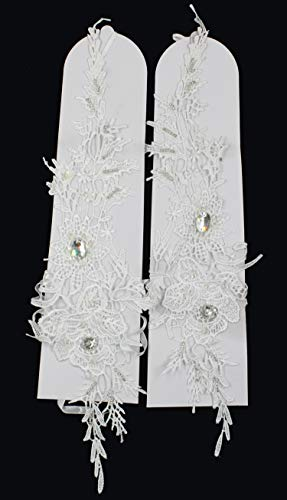 DeemoShop New Luxury White Lace Princess Bridal Gloves Beaded Fingerless Fashion Female Long Design Wedding Dresses Gloves by DeemoShop