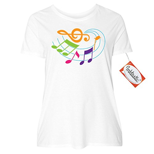 inktastic Music Notes Musical Gift Women's Plus Size T-Shirt 1 (14/16) - T-shirt Personalized Gift Band