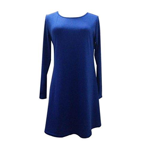 Vestido Para Mujeres - Rcool de Manga Larga de Cuello En O Sólido Mini de Suelta Volantes Elegante Dress Azul