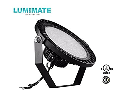 Lumimate UFO LED High bay Light,5000K natural white, With dimmable cable +0-10V sensing function, Warehouse LED Lights, Waterproof, Super Bright Commercial Lighting (UL,DLC)