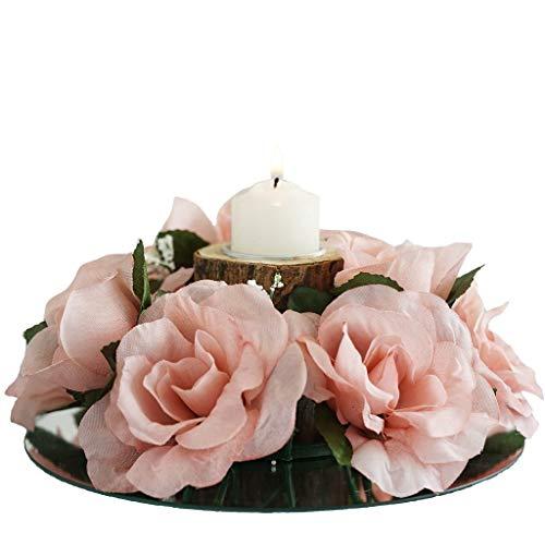(BalsaCircle 8 Blush Silk Roses Candle Rings - Artificial Flowers Wedding Party Centerpieces Arrangements Bouquets Supplies)
