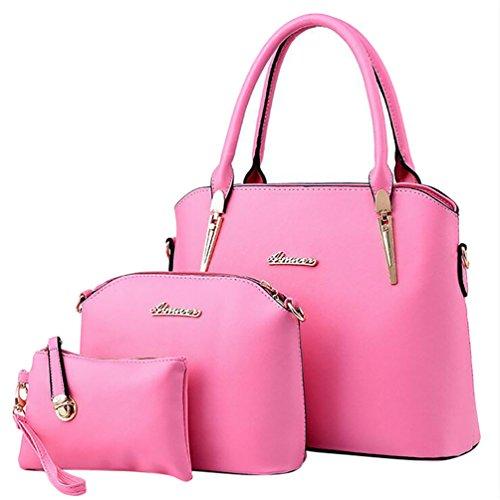 y de Bolso de Monedero de Moda Baymate Hobo Bolsa Cuero Mano y rosa Mujer las fRwgz7