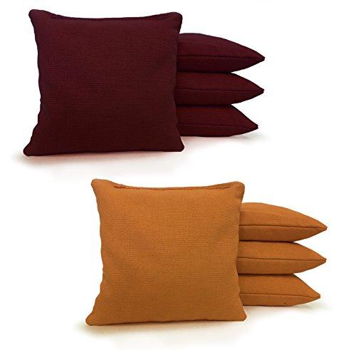 "8 Standard Corn Filled Regulation 6""x6"" Duck Cloth Cornhole Bags! (Maroon/Gold)"