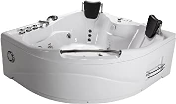 2 Person Bathtub White Corner Fitting Unit Jetted Whirlpool 11 Massage Jets  Built In Heater