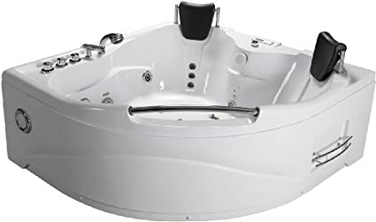 2 Person Bathtub White Corner Fitting Unit Jetted Whirlpool 11