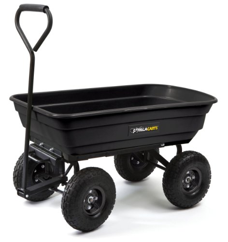 Gorilla Carts GOR200B Poly Garden Dump Cart with Steel Frame and 10-Inch Pneumatic Tires, 600-Pound Capacity, 36-Inch by 20-Inch Bed, Black Finish by Gorilla Carts