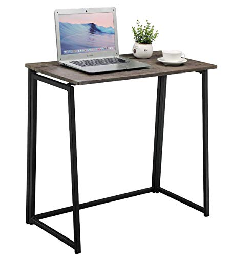 GreenForest Small Folding Desk Industrial Style Space Saving Computer Desk Workstation, Easy Assembly, Walnut