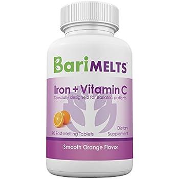 BariMelts Iron + Vitamin C, Dissolving Bariatric Vitamins, Zero Sugar, Smooth Orange Flavor, GMO-Free Fast Melting Tablets, Gluten-Free Chewable Supplement for WLS