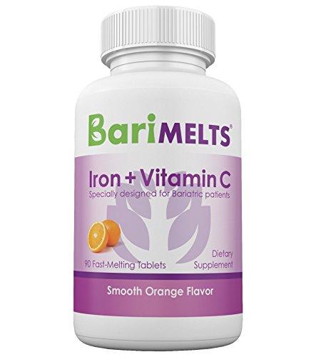 BariMelts Iron + Vitamin C, Dissolvable Bariatric Vitamins, Natural Orange Flavor, 90 Fast Melting Tablets Elemental 90 Tab