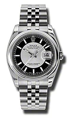 Rolex Oyster Perpetual Datejust 36mm Stainless Steel Case, Domed Bezel, Silver And Black Dial, Index Hour Markers And Jubilee Bracelet. by Rolex