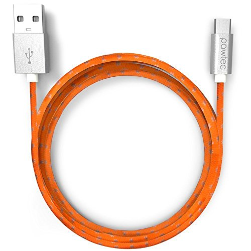 Pawtec Premium USB 2.0 A Male to Micro B USB Charger with Sync 480-Mbps, 3.3 Feet/1 Meter Nylon Braided Charger Cable (Tangerine Orange)